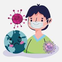 covid 19 design pandemico con ragazzo con mascherina medica