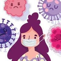 covid 19 design pandemico con donna felice con maschera protettiva