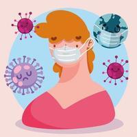 covid 19 cartoon pandemic con persona che indossa una maschera protettiva