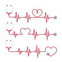 stetoscopio con linee di cuore rosse