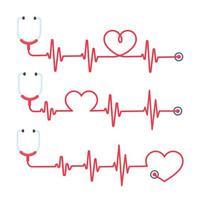 stetoscopio con linee di cuore rosse vettore