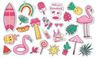 set di icone carino estate cibo, bevande, foglie di palma vettore