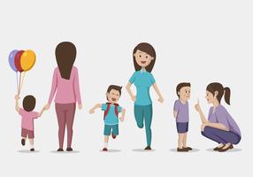 Illustrazione vettoriale di mamma e figlio