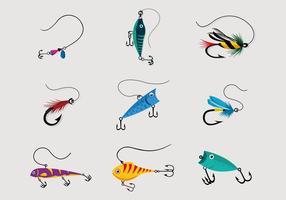 Pacchetto di vettore colorato richiamo di pesca
