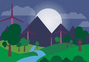Paesaggio notturno di vettore di energia verde