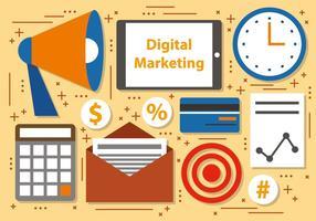 Icone di vettore di affari di marketing digitale gratis