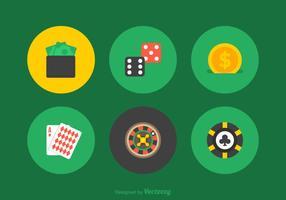Icone piane di gioco d'azzardo vettoriali gratis