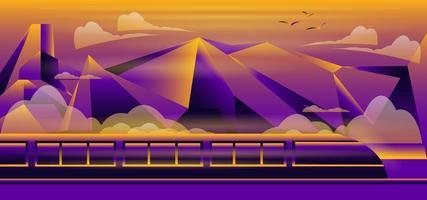 treno con design di montagna vettore