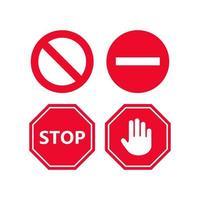 set di icone di segnale di stop vettore