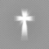 croce bianca splendente e speciale effetto luce riflesso lente vettore