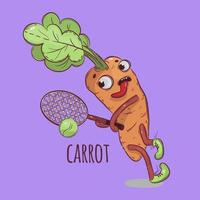 carota Cartoon giocando a tennis vettore