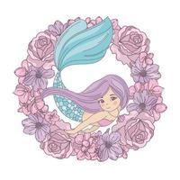 sirena in ghirlanda di fiori vettore