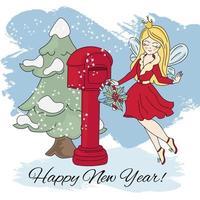 cartone animato di Natale fata di Capodanno vettore