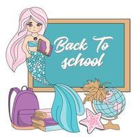 torna a scuola set principessa sirena vettore