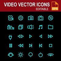 icona impostata per video in colore ciano