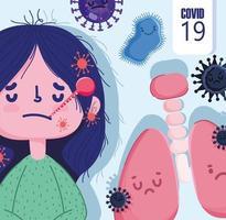 covid 19 design pandemico con ragazza malata di cartone animato