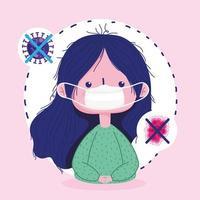 covid 19 disegno di pandemia di coronavirus con ragazza che indossa una maschera vettore