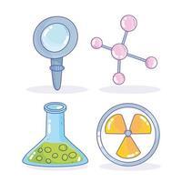 scienza medicina lente d'ingrandimento nucleare atom becher laboratorio di ricerca vettore