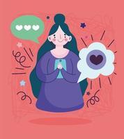 giovane donna con amore messaggio SMS smartphone vettore