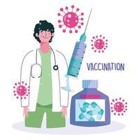 medico specialista con vaccinazione e bottiglia di medicina