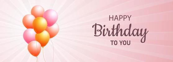 banner di buon compleanno palloncini rosa e arancioni