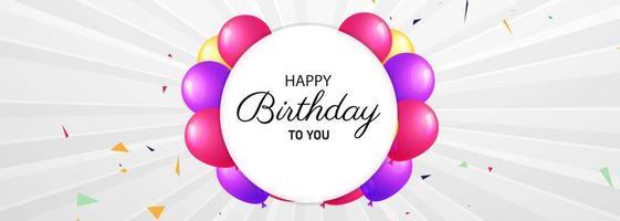carta di celebrazione di buon compleanno con cornice a palloncino circolare