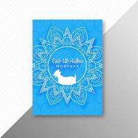 eid al adha card ornato blu e bianco di festa vettore