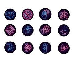 set di icone al neon circolare coronavirus