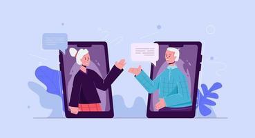 le persone anziane comunicano online su smartphone