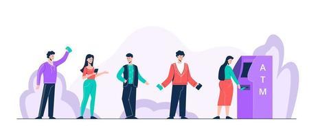 persone positive dei cartoni animati in piedi in coda al bancomat vettore