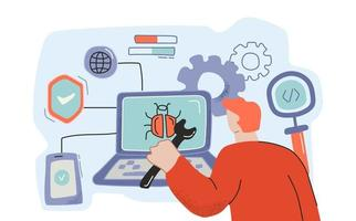 programmatore di cartoni animati di sesso maschile che lavora al rilevamento di bug vettore