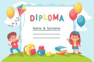 cartone animato colorato prescolare o diploma di scuola vettore