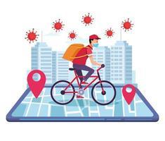 corriere nella consegna di biciclette