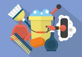 Icone di pulizia piatte vettore