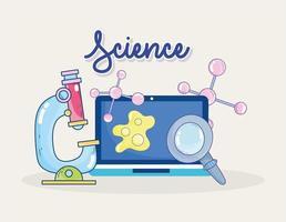laboratorio di ricerca della molecola della lente d'ingrandimento del computer portatile di microscopio di scienza