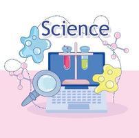 scienza laptop boccette lente d'ingrandimento atomi molecola struttura laboratorio di ricerca