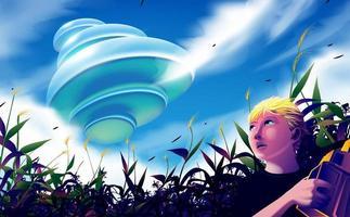 ufo sorvolando il campo di grano vettore