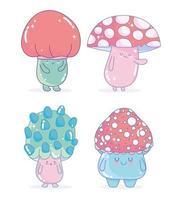 set di icone amichevoli caratteri fungo di videogioco