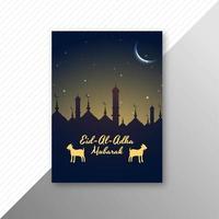 eid al adha card con silhouette moschea e capre vettore