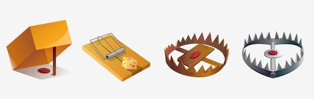 insieme di varie trappole per animali dei cartoni animati vettore