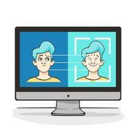 identificazione biometrica del volto maschile dei cartoni animati allo schermo del computer