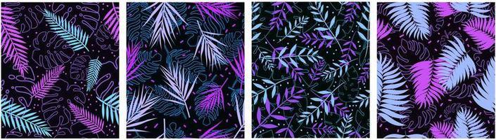 modello senza cuciture delle foglie tropicali blu viola vettore
