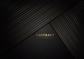 strati angolati diagonali con linee dorate a strisce sul nero vettore
