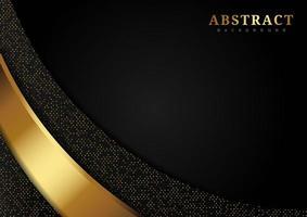 curva dorata di lusso e glitter sul nero