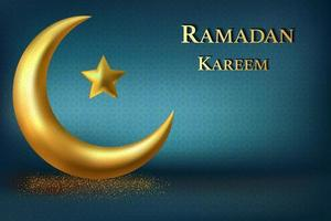 design Ramadan Kareem con lussuosa luna crescente dorata vettore