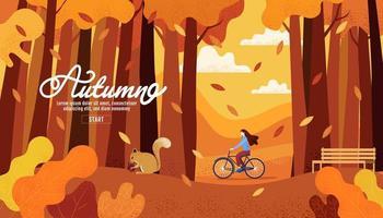 pagina di inizio autunno con donna in bicicletta nella foresta vettore
