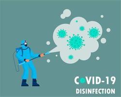 uomo che disinfetta le particelle di coronavirus vettore