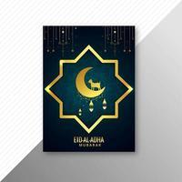 eid al-adha greeting card con stella d'oro vettore