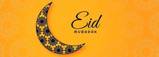 eid mubarak decorativo con banner islamico luna vettore