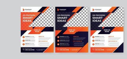 modello di volantino aziendale arancione, blu scuro